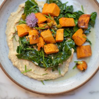 Coconut Roasted Sweet Potato and Collard Greens Hummus Bowl