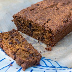 vegan, gluten-free chocolate chip pumpkin bread